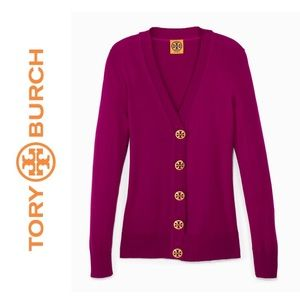 Tory Burch Simone Cardigan Logo Buttons Front